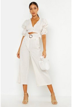 Dam Ecru Striped Linen Look Double Puff Sleeve Buttoned Crop Top