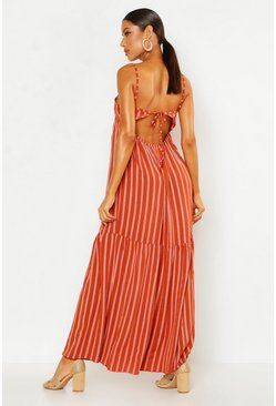 Womens Terracotta Linen Look Striped Halter Ruffle Maxi Dress