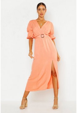 Apricot Puff Sleeve Horn Buckle Midaxi Dress