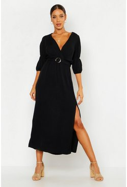 Womens Black Puff Sleeve Horn Buckle Midaxi Dress
