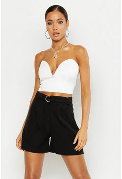 Womens Black O Ring Belted Tailored Short