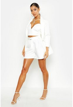 Womens Ivory O Ring Belted Tailored Short