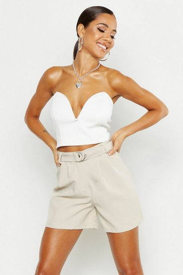 Womens Stone O Ring Belted Tailored Short