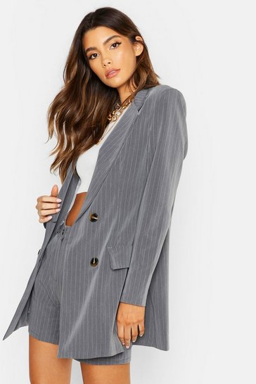 Womens Grey Tailored Pinstripe Blazer