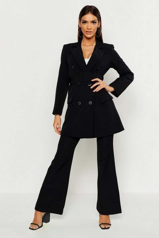 Womens Black Longline Double Breasted Belted Blazer