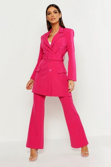 Womens Pink Longline Double Breasted Belted Blazer
