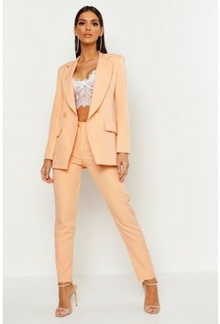 Schmale High-Waist Anzughose, Orange, Damen