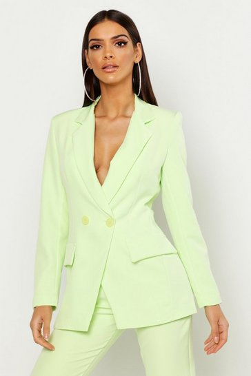 Womens Lime Tailored Double Breasted Blazer