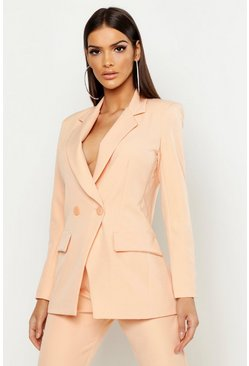 Womens Orange Tailored Double Breasted Blazer
