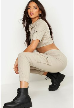Womens Beige Woven Utility Cropped Top & Pants Co-Ord