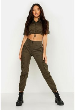 Womens Khaki Woven Utility Cropped Top & Trouser Co-Ord
