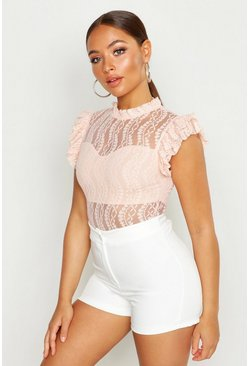 Womens Nude All Over Lace Bodysuit