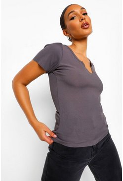 Charcoal Basic Rib Notch Front T-Shirt