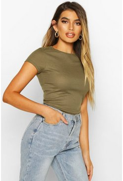 Khaki Basic Ribbed T-Shirt
