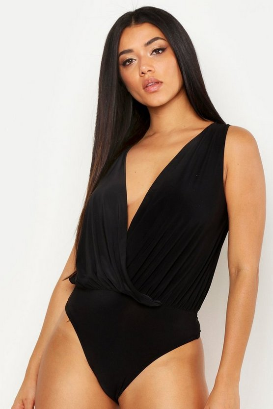Womens Black Slinky Wrap Sleeveless Bodysuit