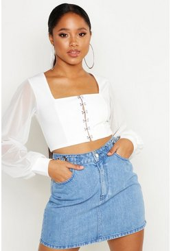 Womens Ivory Hook And Eye Cropped Peasant Top