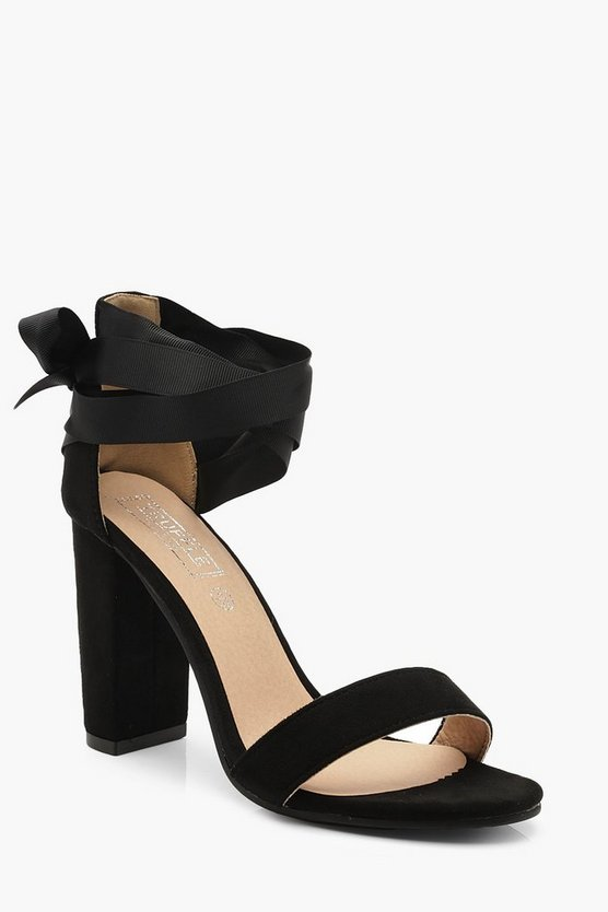 Black Wrap Strap Block Heel 2 Parts