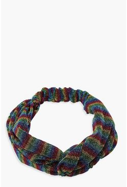 Womens Multi Glitter Rainbow Twist Knot Headband