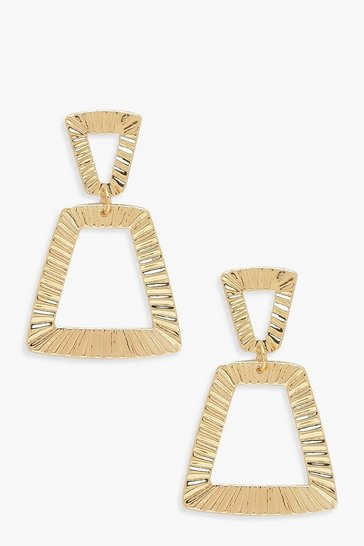 Womens Gold Textured Trapezium Statement Earrings