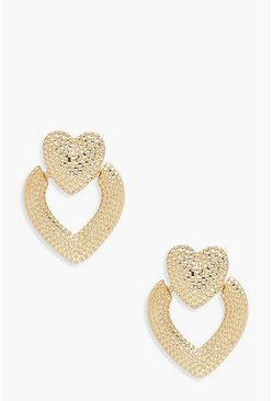 Womens Gold Heart Door Knocker Statement Earrings