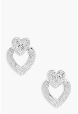 Womens Silver Heart Door Knocker Statement Earrings