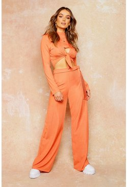 Rust Rib Tie Waist Wide Leg Trousers