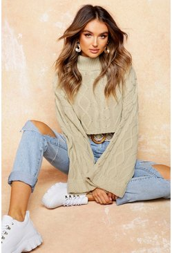 Womens Oatmeal Cable Knit Roll Neck Cropped Jumper