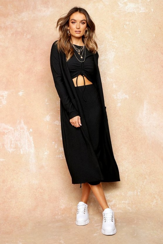 Womens Black Knit Pocket Maxi Cardigan