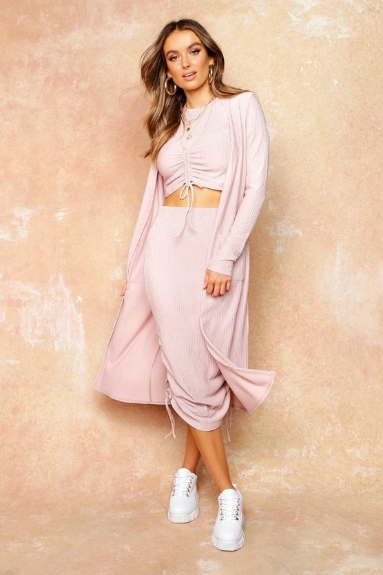 Womens Pink Knit Pocket Maxi Cardigan
