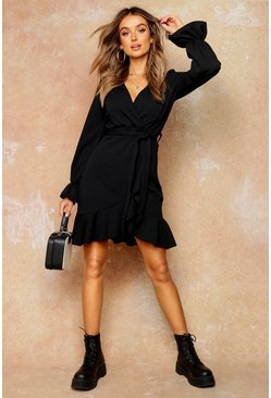 Black Blouson Sleeve Ruffle Hem Tea Dress