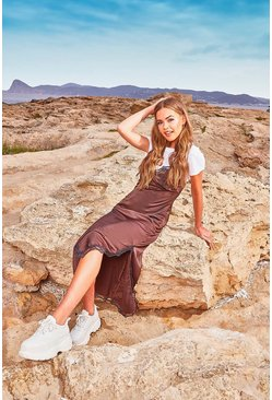 Womens Chocolate Strappy Lace Trim Slip Dress