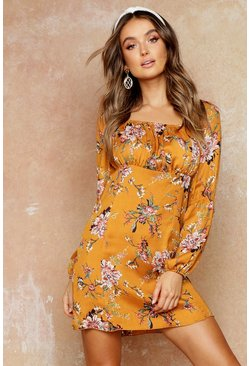 Womens Rust Floral Print Puff Sleeve Ruched Mini Dress