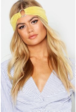 Womens Yellow O-Ring Plisse Headband