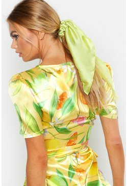 Womens Lime Satin Scarf Scrunchie