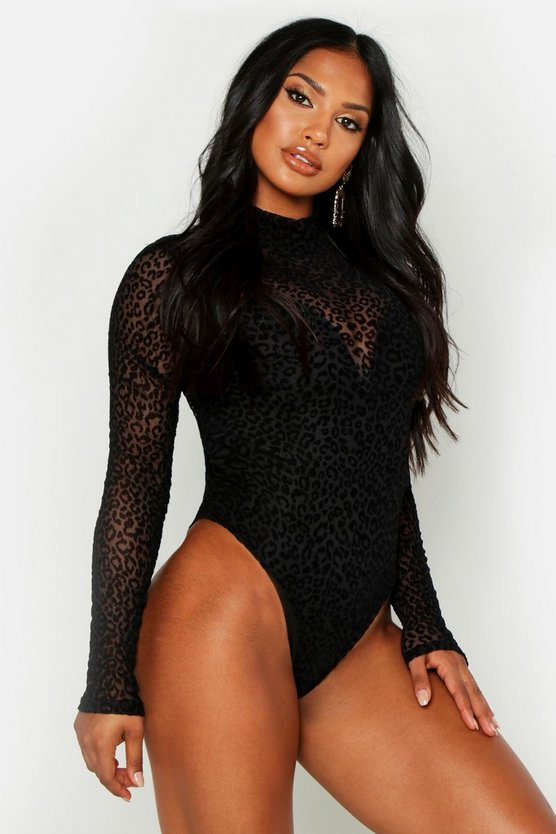 Womens Black High Neck Leopard Mesh Bodysuit