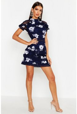 Womens Navy Floral Lace Tiered Mini Dress