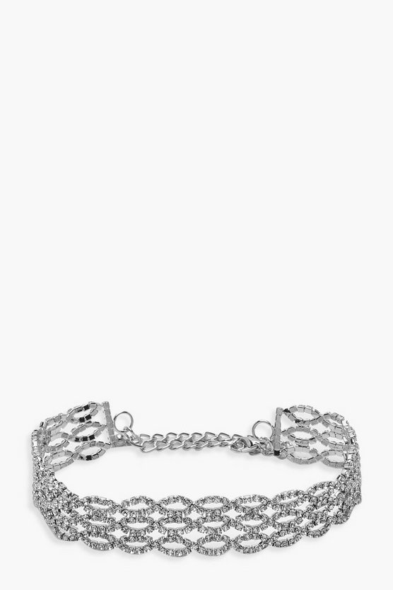 Silver Ring Detail Diamante Choker