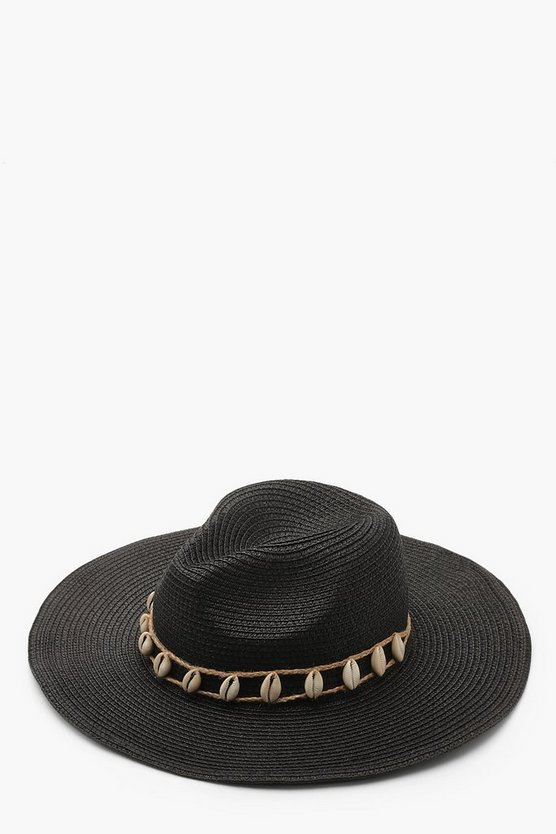 Womens Black Shell Trim Straw Hat