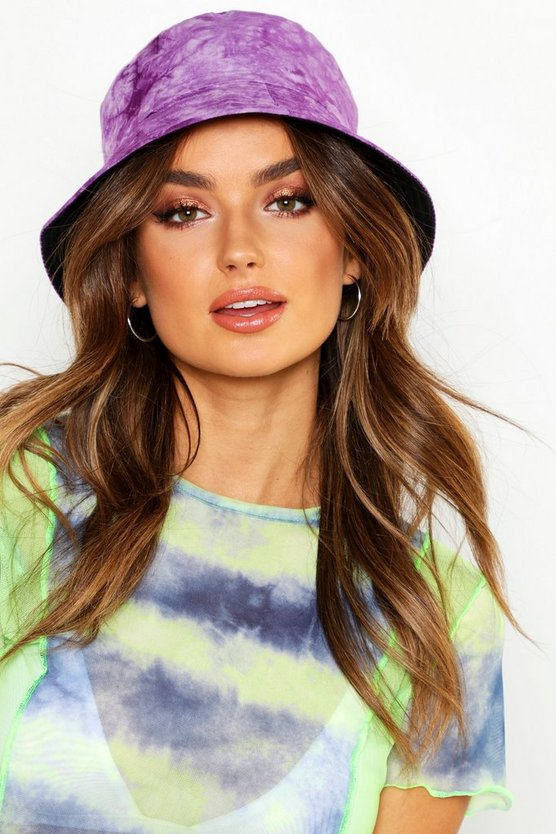 Womens Purple Tie Dye Bucket Hat
