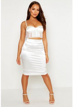Womens White Satin Stretch Midi Skirt