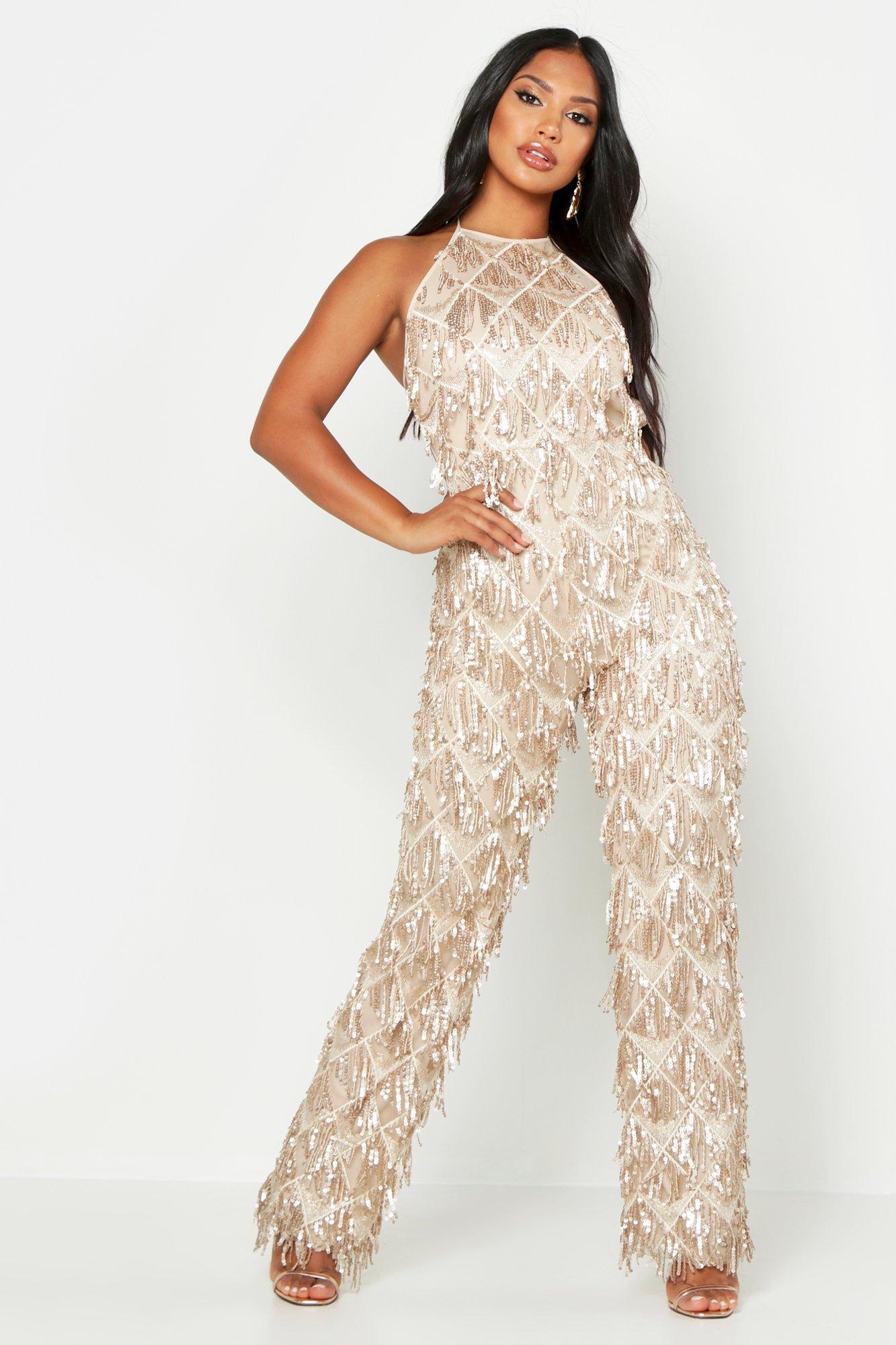70s Dresses – Disco Dress, Hippie Dress, Wrap Dress All Over Sequin Low Back Jumpsuit  AT vintagedancer.com