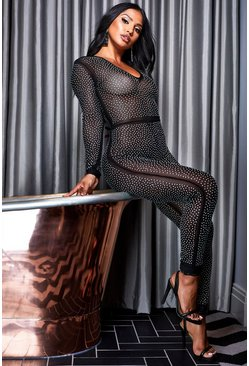 Womens Black All Over Diamante Catsuit