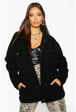 Womens Black Faux Fur Teddy Trucker