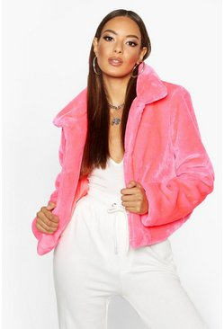Womens Neon-pink Neon Bright Faux Fur Jacket