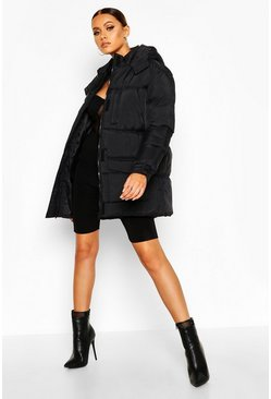 Womens Black Belted Pocket Detail Padded Coat