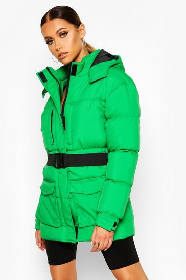 Womens Green Belted Pocket Detail Padded Coat