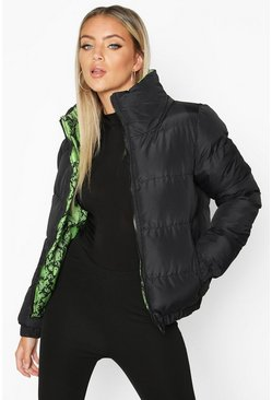 Womens Green Reversible Neon Snake Puffer