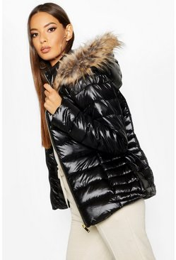 Womens Black Faux Fur Trim Quilted Puffer