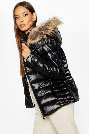 Black Faux Fur Trim Quilted Puffer