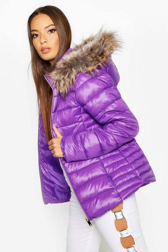 Purple Faux Fur Trim Quilted Puffer
